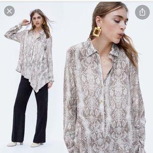 Zara asymmetric snake print blouse